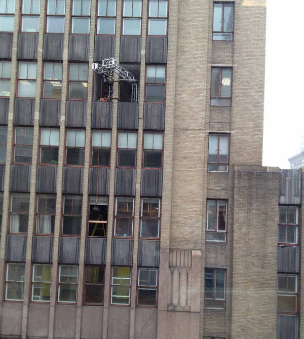 On Friday morning, production crews for the movie &#34;Dead Man Down&#34; filmed a scene, which included an actor hanging out of a 6th story window at 17th and Walnut streets in Center City Philadelphia. This picture was taken by Action News viewer Justin Bresson. <span class=meta>(Dead Man Down movie shoot in Philadelphia)</span>