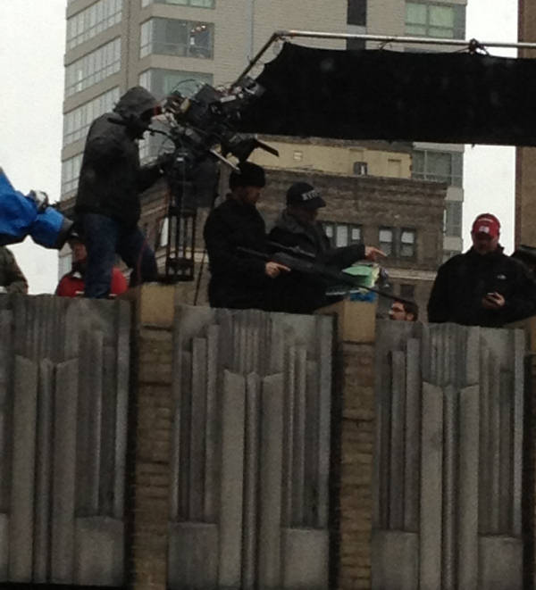 Production crews for the movie &#34;Dead Man Down&#34; moved to the rooftops on Thursday at 17th and Walnut streets in Center City Philadelphia. Here you can see actor Colin Farrell handling a rifle in preparation for the next scene. This picture was taken by Action News viewer Justin Bresson. <span class=meta>(Dead Man Down movie shoot in Philadelphia)</span>