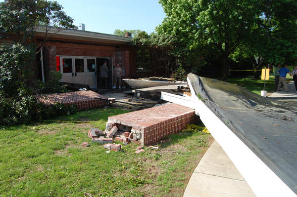 A Coca-Cola truck struck the front overhang of a school in Quakertown, Bucks County Thursday morning. Images provided by Action News viewer Frank DiRenzo. <span class=meta>(Frank DiRenzo)</span>