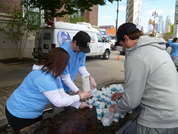 6abc water station at the Blue Cross Broad Street Run