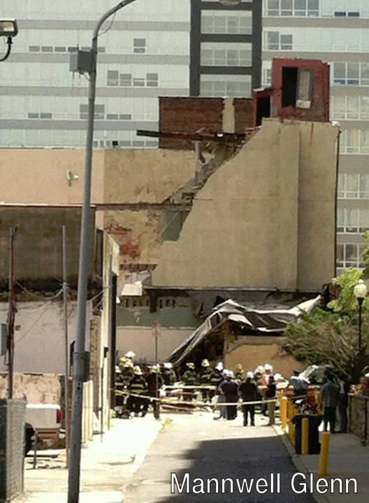 "<div class=""meta ""><span class=""caption-text "">Mannwell Glenn posted this photo on Facebook of the building collapse on 22nd and Market streets on June 5, 2013. </span></div>"