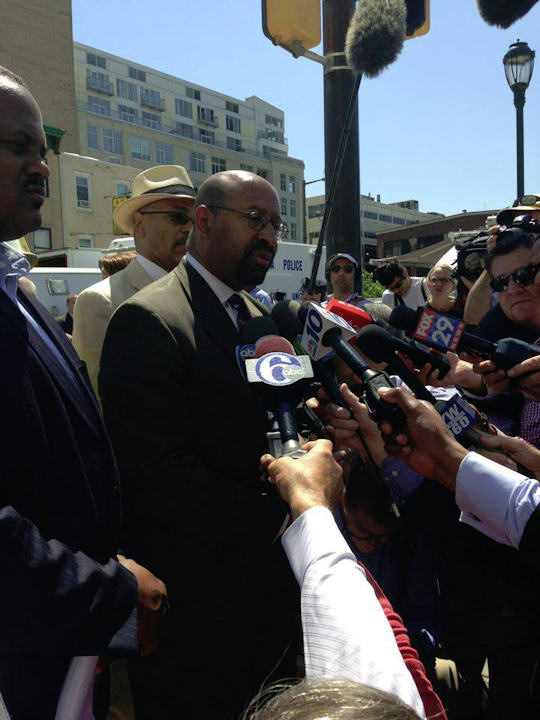 "<div class=""meta ""><span class=""caption-text "">Mayor Michael Nutter speaks at the scene of a building collapse on 22nd and Market streets on June 5, 2013. Photo taken by Action News reporter Kenneth Moton. </span></div>"