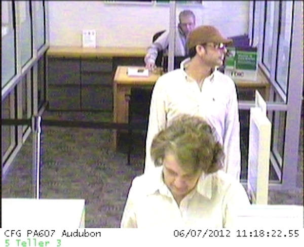 Police say the man held up the Citizens Bank branch in the Audubon Village Shopping Center on Audubon Village Drive in Lower Providence Township at 11:20 a.m. Thursday June 7, 2012. If you recognize the man in the surveillance pictures you are asked to contact the Lower Providence Township Police Department at 610-539-5900.