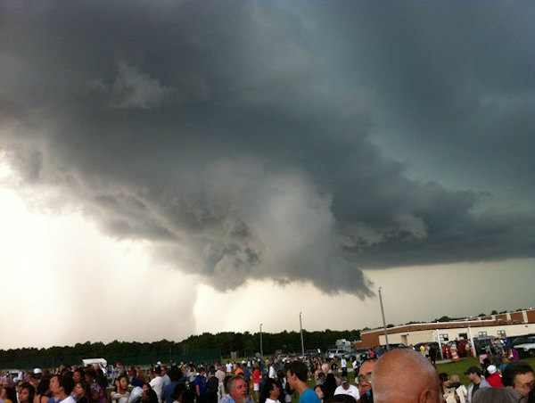 A storm broke up the Absegami High School graduation in Galloway Township, New Jersey on Thursday, June 7, 2012. This photo was taken by Anthony Bellano/Galloway Patch.