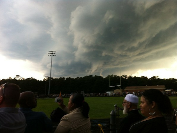 "<div class=""meta ""><span class=""caption-text "">A storm broke up the Absegami High School graduation in Galloway Township, New Jersey on Thursday, June 7, 2012. This photo was taken by Anthony Bellano/Galloway Patch.</span></div>"