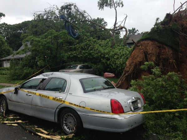 Storm damage from Glasgow, Delaware on Monday, June 10th.  From Lorraine Layton.