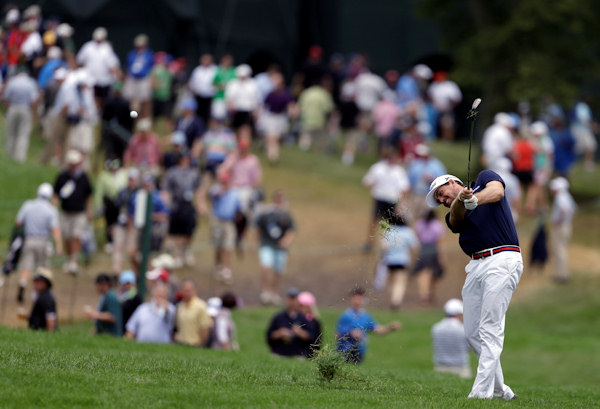 Keegan Bradley hits down the first fairway during the first round of the U.S. Open golf tournament at Merion Golf Club, Thursday, June 13, 2013, in Ardmore, Pa. (AP Photo/Darron Cummings)