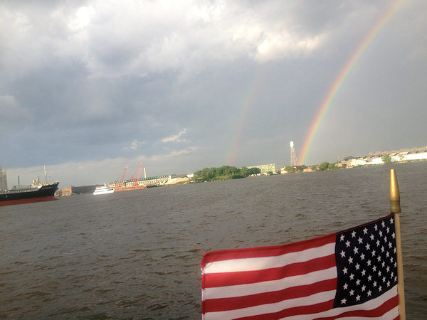 Friday June 14, 2013: Action News producer Cheryl Mettendorf captured pictures of the double rainbow while on a Delaware River cruise.