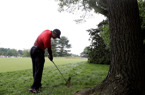 "<div class=""meta ""><span class=""caption-text "">Tiger Woods hits down the second hole during the fourth round of the U.S. Open golf tournament at Merion Golf Club, Sunday, June 16, 2013, in Ardmore, Pa. (AP Photo/Gene J. Puskar)  </span></div>"