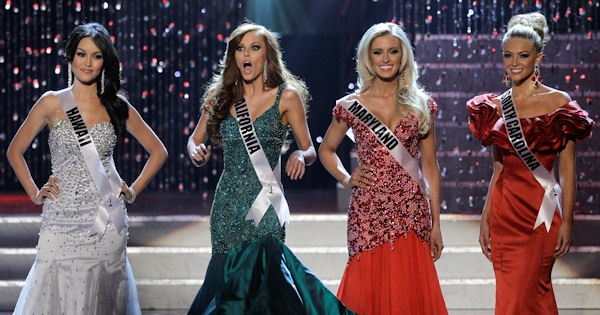 Alyssa Campanella, Miss California, second from left, reacts after being announced as a finalist during the 2011 Miss USA pageant, Sunday, June 19, 2011, in Las Vegas. (AP Photo/Julie Jacobson)