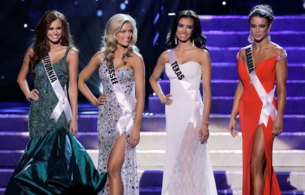 From left, Miss California, Miss Tennessee, Miss Texas and Miss Alabama, the four finalists wait to be asked questions during the 2011 Miss USA pageant, Sunday, June 19, 2011, in Las Vegas. (AP Photo/Julie Jacobson)