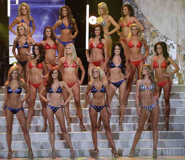 The quarterfinalists stand at the end of the swim suit competition during the 2011 Miss USA pageant, Sunday, June 19, 2011, in Las Vegas. (AP Photo/Julie Jacobson)