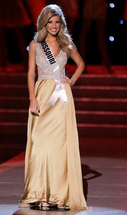 Hope Driskill, Miss Missouri, is introduced as one of the quarterfinals at the start of the Miss USA pageant, Sunday, June 19, 2011, in Las Vegas. (AP Photo/Julie Jacobson)
