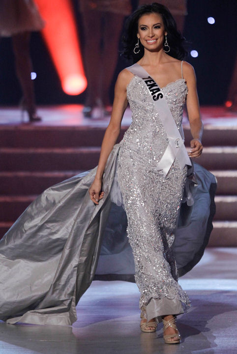 Ana Christina Rodriguez, Miss Texas, is introduced as one of the quarterfinalists during the Miss USA pageant, Sunday, June 19, 2011, in Las Vegas. (AP Photo/Julie Jacobson)