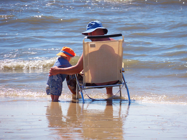 Submitted by:  Connie Caption: Cape May NJ - Cooper and Dad enjoying the water   CLICK HERE to submit your Shoretographs!