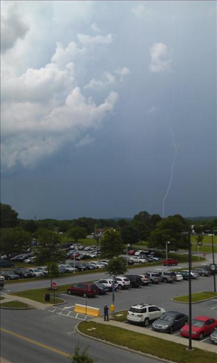 Lightning bolt seen from Christiana Hospital on Monday, June 24, 2013