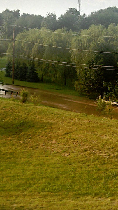 "<div class=""meta ""><span class=""caption-text "">Christi Rakestraw sent in this photo on the Action News Facebook page of Kimble Road flooding in Lincoln University, Pa. on Monday, June 24, 2013 (Viewer Photo)</span></div>"