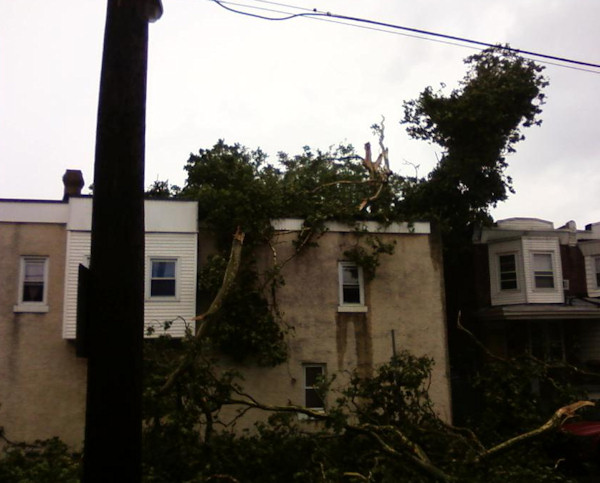 Submitted by:Gina  Caption:Damage at 59th and Race streets   RELATED: CLICK HERE for more viewer submitted photos: