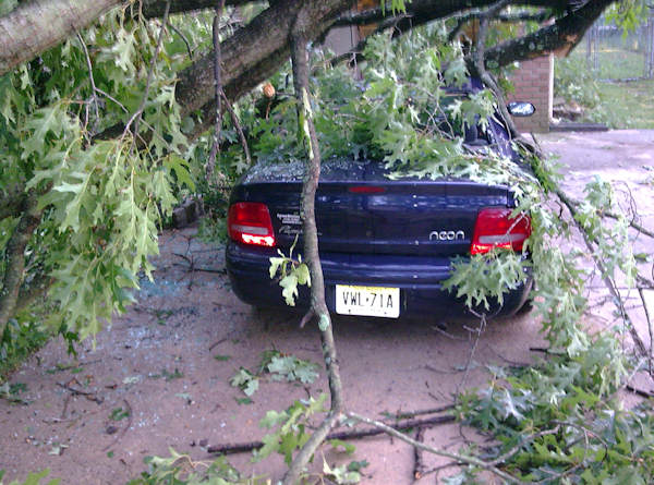Submitted by:Chris  Caption:Car crushed in Pine Hill, NJ   RELATED: CLICK HERE for more viewer submitted photos:
