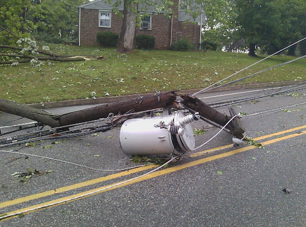 Submitted by:Etienne  Caption:Transformer falls into street in Broomall   RELATED: CLICK HERE for more viewer submitted photos: