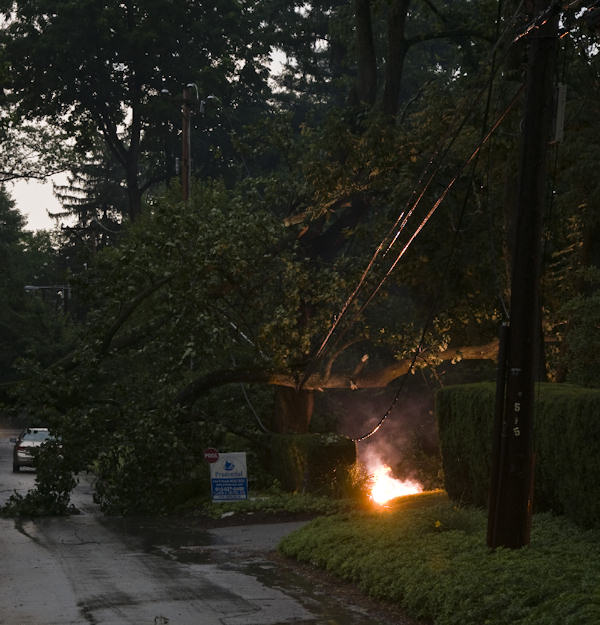 Submitted by:Andrew  Caption:Wires down in Bryn Mawr   RELATED: CLICK HERE for more viewer submitted photos: