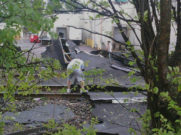 "Submitted by:Kelly   Caption:Part of the roof was blown off the ""Today's Child Learning Center"" in Glenolden, Pa. RELATED: CLICK HERE for more viewer submitted photos:"