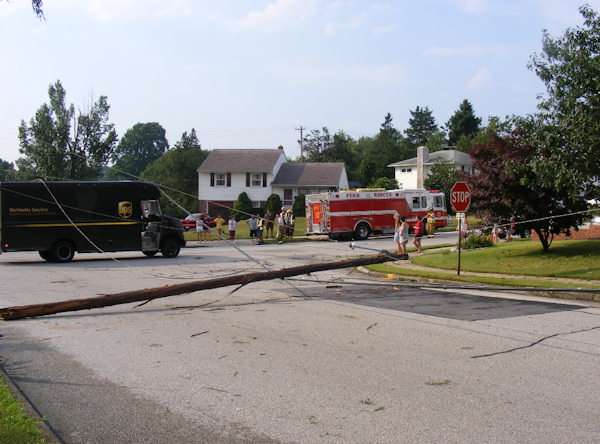 Submitted by: Deb Caption: Canterbury Dr and hastings Blvd in Broomall: Three poles split when the UPS truck drove into the low hanging wires. RELATED: CLICK HERE for more viewer submitted photos