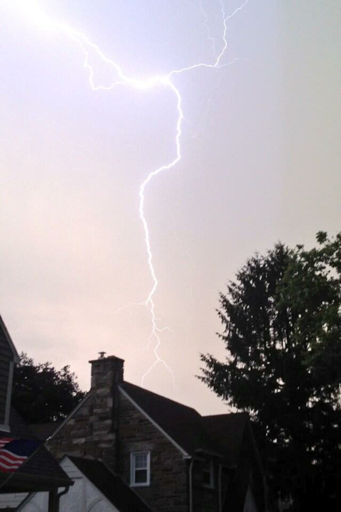 Action News viewer Lauren Kathleen took this photo of lightning in Drexel Hill on June 26, 2013. <span class=meta>(Viewer Photo)</span>