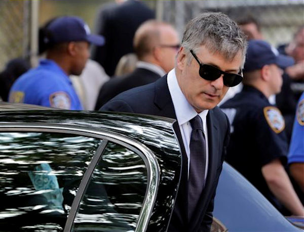 "Actor Alec Baldwin arrives for the funeral service of James Gandolfini, star of ""The Sopranos,"" in New York's the Cathedral Church of Saint John the Divine, Thursday, June 27, 2013. The 51-year-old actor died of a heart attack last week while vacationing in Italy with his son.(AP Photo/Richard Drew)"