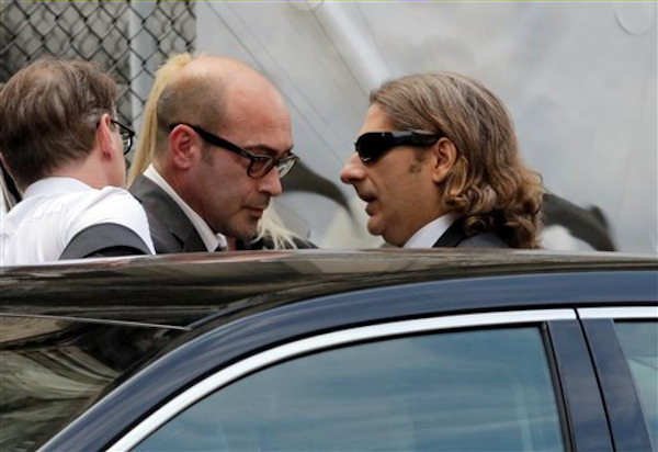 "Actors John Ventimiglia, left, and Michael Imperioli arrive for the funeral service of James Gandolfini, star of ""The Sopranos,"" in New York's the Cathedral Church of Saint John the Divine, Thursday, June 27, 2013. The 51-year-old actor died of a heart attack last week while vacationing in Italy with his son.(AP Photo/Richard Drew)"