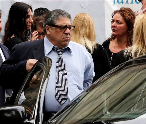 "<div class=""meta ""><span class=""caption-text "">Actor Vincent Pastore and actress Aida Turturro, right, arrive for the funeral service of James Gandolfini, star of ""The Sopranos,"" in New York's the Cathedral Church of Saint John the Divine, Thursday, June 27, 2013. The 51-year-old actor died of a heart attack last week while vacationing in Italy with his son.(AP Photo/Richard Drew)</span></div>"