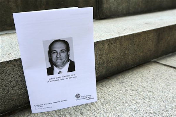 "<div class=""meta ""><span class=""caption-text "">The program for James Gandolfini's funeral is seen outside the Cathedral Church of Saint John the Divine after his funeral service, Thursday, June 27, 2013 in New York. Gandolfini, who played Tony Soprano in the HBO show ""The Sopranos"", died while vacationing in Italy last week. (AP Photo/Mary Altaffer)</span></div>"