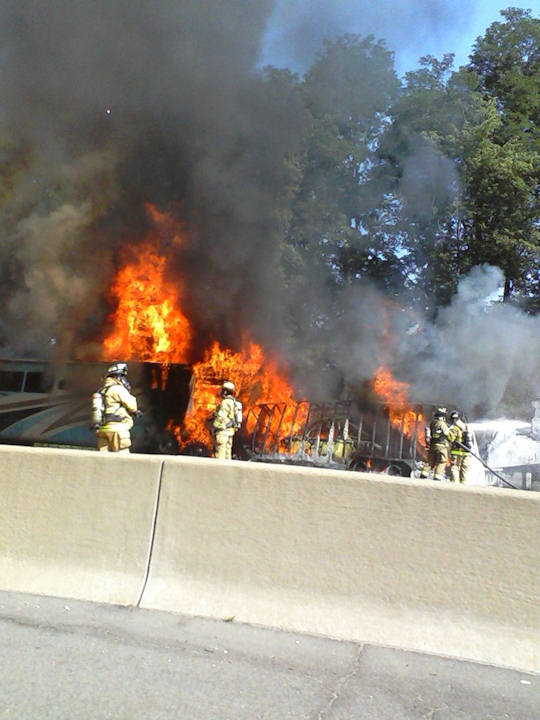 Viewer Jonathan Galed sent in this photo of the fire on the New Jersey Turnpike on June 28, 2011.