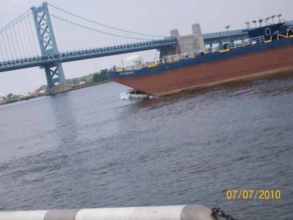 In this photo obtained by Action News, a duck boat can be seen being hit by a city-owned barge on the Delaware River on July 7, 2010.
