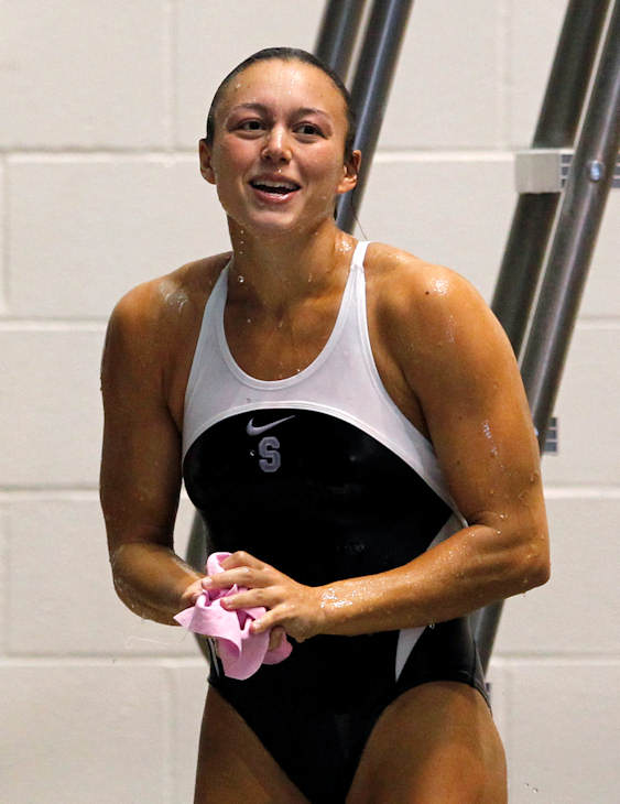 "Pictured: Cassidy Krug, Diving, 5'4"" 135, 7/12/1985, Pittsburgh, 3m  A total of 35 Pennsylvanians will compete in the 2012 Summer Olympic Games in London.    (AP Photo)"