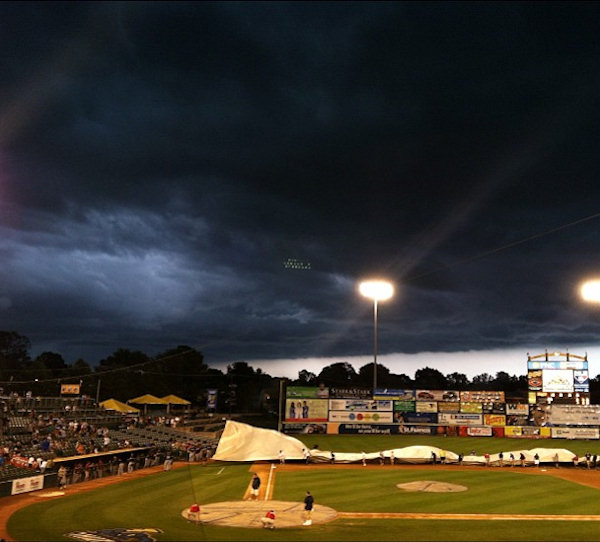 Marisa Alvarado tweeted this photo from the Trenton Thunder game of the storm on July 26, 2012.