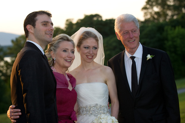 This photo released by Genevieve de Manio Photography shows Marc Mezvinsky,left with his new mother-in-law Hillary Rodham Clinton, his bride Chelsea and father-in-law former President Bill Clinton after the couples wedding Saturday July 31, 2010 in Rhinebeck,N.Y.  <span class=meta>(&#40;AP Photo&#47;Genevieve de Manio Photography,Barbara Kinney&#41;)</span>