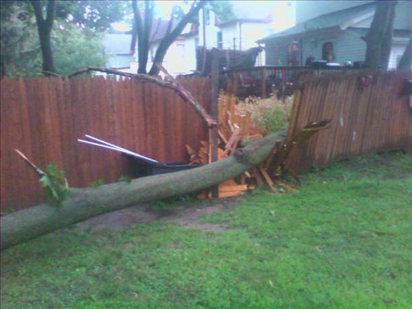"<div class=""meta ""><span class=""caption-text "">Action News viewer Maggie Mae said ""These are pictures taken when a tree was blown down in our backyard tonight during the storm. Thank God no one was hurt and nothing more than the fence was damaged.""</span></div>"