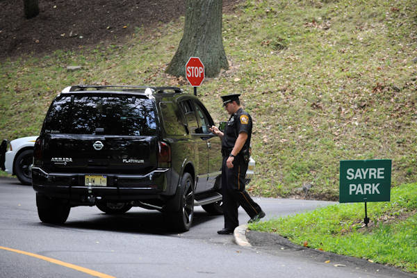 Lehigh University campus police block off a road leading to the Sayre Park dorms that house Philadelphia Eagles players and support staff, Sunday, Aug. 5, 2012, in Bethlehem, Pa. Garrett Reid, son of Eagles coach Andy Reid, was found dead in his dorm room early Sunday morning. (AP Photo/Chris Post)