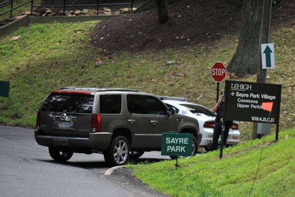 "<div class=""meta ""><span class=""caption-text "">Lehigh University campus police block off a road leading to the Sayre Park dorms that house Philadelphia Eagles players and support staff, Sunday, Aug. 5, 2012, in Bethlehem, Pa. Garrett Reid, son of Eagles coach Andy Reid, was found dead in his dorm room early Sunday morning. (AP Photo/Chris Post) </span></div>"