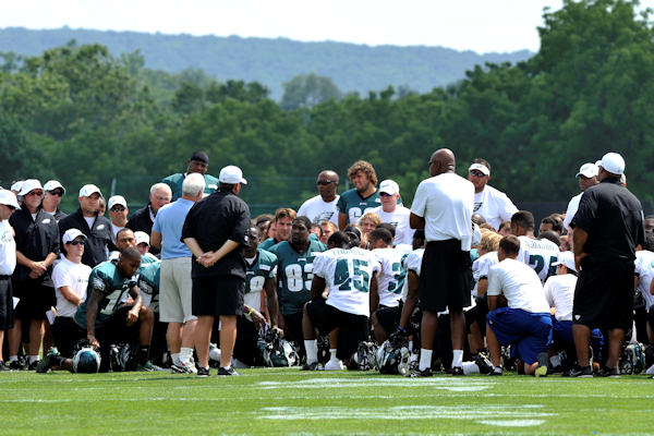 Philadelphia Eagles owner Jeffrey Lurie addresses players and support staff at NFL football practice, Sunday, Aug. 5, 2012, in Bethlehem, Pa. Garrett Reid, the oldest son of Eagles head coach Andy Reid, was found dead Sunday morning in his room at the club's training camp at Lehigh University. He was 29. (AP Photo/Chris Post)