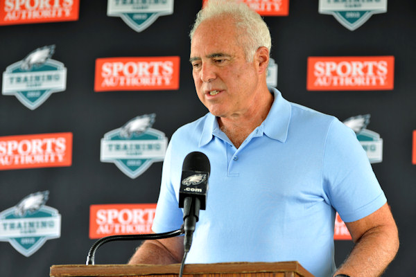 Philadelphia Eagles owner Jeffrey Lurie speaks during an NFL football news conference, Sunday, Aug. 5, 2012, in Bethlehem, Pa. Garrett Reid, the oldest son of Eagles head coach Andy Reid, was found dead Sunday morning in his room at the club's training camp at Lehigh University. He was 29. (AP Photo/Chris Post)