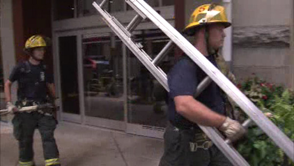 Five young adults were rescued from inside an elevator at the 1500 Locust Apartments in Center City on August 12, 2012 after being trapped for more than three hours.