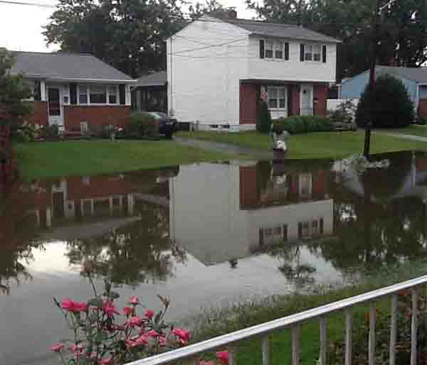 A viewer sent us this picture of a flooded street in New Castle, Delaware.