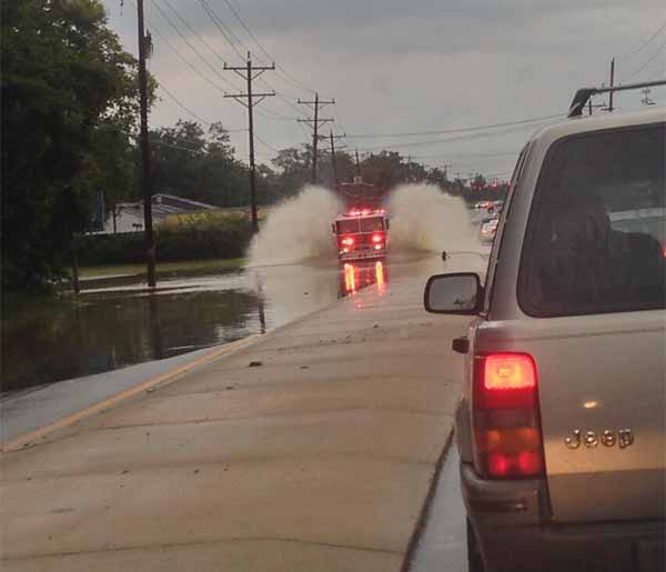 "Jennifer Price tweeted us with this pictrue, saying, "" Fire truck makes a splash on Kirkwood highway in Newark, DE. @6abc"""