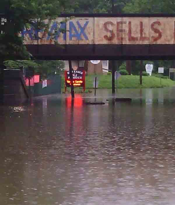 "From @6abc viewer Russell Lee Sells: ""Car completely submerged on Evergreen Ave in Woodbury, NJ"""
