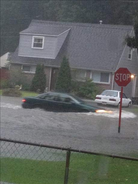 "<div class=""meta ""><span class=""caption-text "">An Action News viewer sent this picture of a car driving through water at Quince Lane and Armstrong Avenue in Secane, Pa.</span></div>"