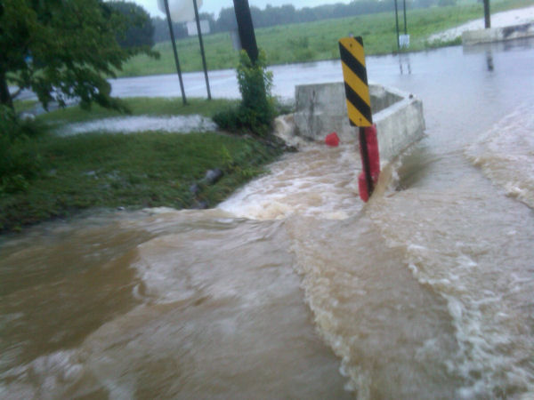 "<div class=""meta ""><span class=""caption-text "">Action News viewer Carol Erhart sent us some dramatic pictures of the flooding Sunday from the border of Salem and Cumberland County.  </span></div>"