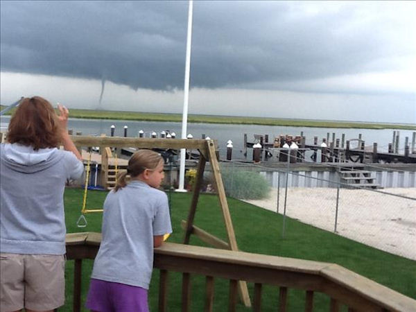 A photo of the waterspout in Brigantine, New Jersey sent via sendit.6abc.com