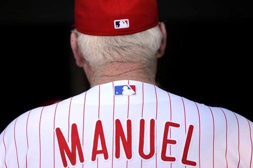Philadlephia Phillies manager Charlie Manuel is shown during a baseball game against the Atlanta Braves on Saturday, July 6, 2013, in Philadelphia. (AP Photo/Michael Perez)